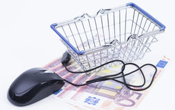 Shopping basket with money and mouse Stock Photos