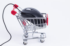 Shopping basket with mouse Stock Images