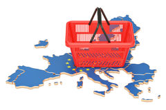 Free Shopping Basket On European Union Map, Market Basket Or Purchasing Power In Europe Concept. 3D Rendering Stock Images - 97257534