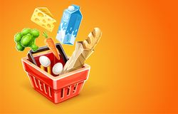 Shopping basket with organic food Stock Image