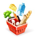 Shopping basket with organic food Stock Photography