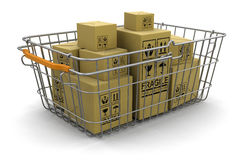 Shopping Basket and packages (clipping path included) Royalty Free Stock Image