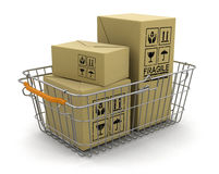 Shopping Basket and packages (clipping path included) Royalty Free Stock Images