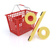 Shopping Basket With Percent Symbol Royalty Free Stock Images