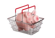Shopping basket with piggy bank Royalty Free Stock Image