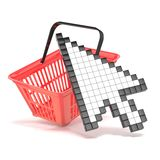 Shopping basket and pointing arrow cursor. Internet commerce concept. 3D. Illustration isolated on white background Royalty Free Stock Image