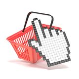 Shopping basket and pointing hand cursor. Internet commerce concept. 3D stock illustration