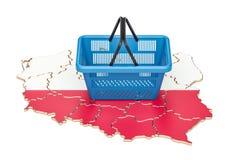 Shopping basket on Polish map, market basket or purchasing power Royalty Free Stock Photo