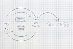 Shopping basket with positive feedback icon into Try and Try Aga. In until Success graph with repetitive cycle and arrows, concept of achieving customer Stock Photo