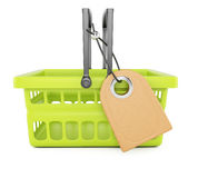 Shopping basket with price tag Stock Photo