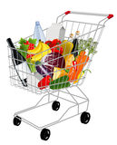 Shopping basket with produce Royalty Free Stock Images
