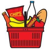 Shopping basket with produce royalty free illustration