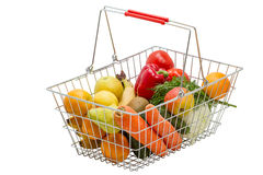 Shopping basket with products Stock Images
