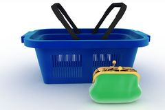 Shopping basket and purse full of money. Concept of saving money Stock Image