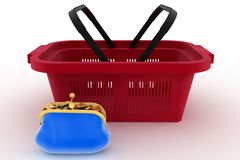 Shopping basket and purse full of money. Concept of saving money Stock Images