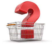 Shopping Basket and Quest (clipping path included) Royalty Free Stock Photo