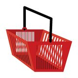 Shopping basket in red color Stock Photography