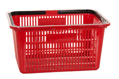 Red shopping basket isolated on a white background Royalty Free Stock Photo