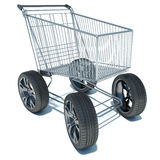 Shopping basket on the road wheels. Royalty Free Stock Images