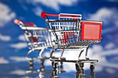 Shopping basket and sales. Big sales and attractive promotions Royalty Free Stock Photo