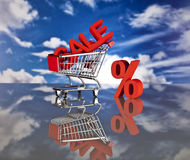 Shopping basket and sales. Big sales and attractive promotions Royalty Free Stock Images