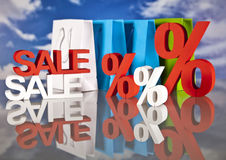 Shopping basket and sales. Big sales and attractive promotions Stock Photography