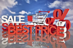 Shopping basket and sales. Big sales and attractive promotions Royalty Free Stock Photos