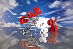 Shopping basket and sales. Big sales and attractive promotions Stock Photo