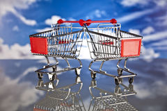 Shopping basket and sales. Big sales and attractive promotions Stock Photos
