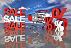 Shopping basket and sales. Big sales and attractive promotions Royalty Free Stock Photography