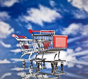 Shopping basket and sales Royalty Free Stock Photo