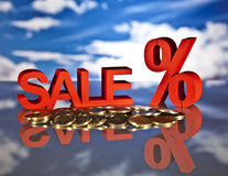 Shopping basket, sales and money. Big sales and attractive promotions Royalty Free Stock Image
