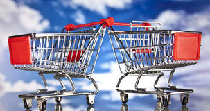 Shopping basket, sales and money. Big sales and attractive promotions Royalty Free Stock Images