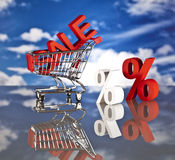 Shopping basket, sales and money. Big sales and attractive promotions Stock Image