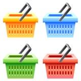 Shopping basket set. Shopping basket; multicolor; sale;  isolated vector illustration Royalty Free Stock Photos