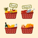 Shopping basket set with foods. Shopping basket set with supermarket fresh and natural vegetables fruits meat chicken and fish isolated vector illustration Stock Image