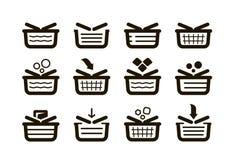 Shopping basket, set icons. Shop, buy, sale symbol. Vector illustration Royalty Free Stock Images