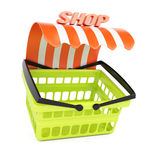 Shopping basket with shop awning Stock Images