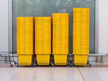 Shopping basket in shopping mall Royalty Free Stock Images