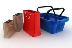Shopping basket and shopping packages Royalty Free Stock Photos