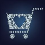 Shopping basket sign made a lot of diamonds Stock Photography