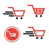 Shopping Basket Sign Set Stock Photos