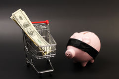 Shopping basket with stack of money american hundred dollar bills inside and pink piggy bank with black blindfold standing. On black background - horizontal Stock Photos