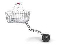 Shopping basket and steel ball on a chain. 3d illustration Royalty Free Stock Photo