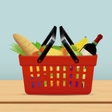 Shopping basket for supermarket with food Royalty Free Stock Image