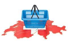 Shopping basket on Swiss map, market basket or purchasing power Stock Images