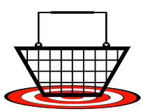 Shopping basket on target Royalty Free Stock Photography