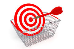 Shopping Basket with Target as Darts Royalty Free Stock Photos