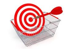 Shopping Basket with Target as Darts Royalty Free Stock Photos