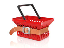 Shopping basket with tighten belt Royalty Free Stock Images
